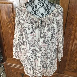 Style & Co Sheer Cream & Pink Floral Peasant Top